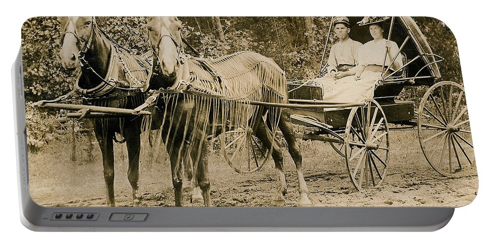 Horse Portable Battery Charger featuring the photograph Delivering The Mail 1907 by Floyd Russell