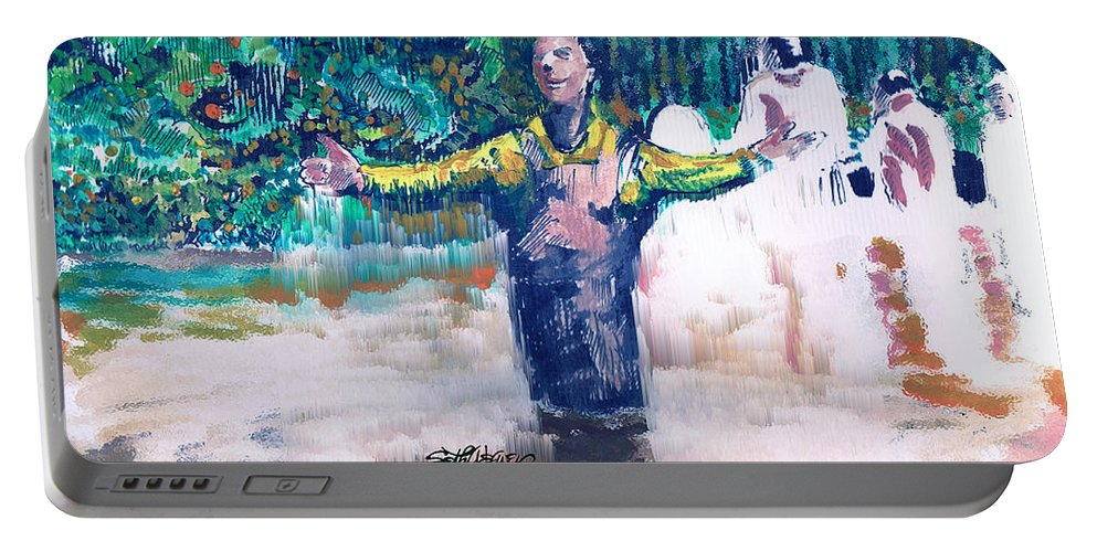 Delmars Baptism Portable Battery Charger featuring the digital art Delmar's Baptism by Seth Weaver