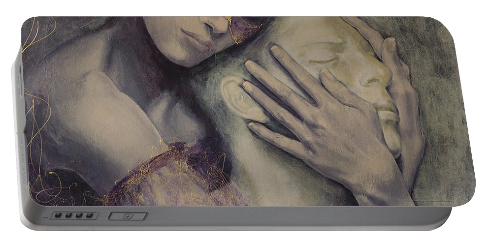 Fantasy Portable Battery Charger featuring the painting Delusion by Dorina Costras