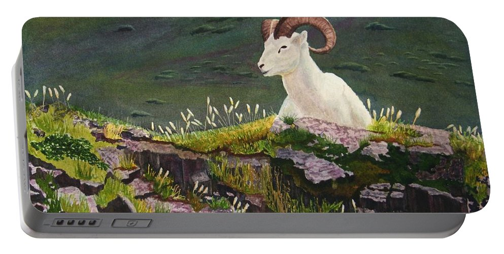 Denali Portable Battery Charger featuring the painting Denali Dall Sheep by Mike Robles