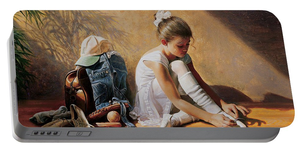 Dancer Portable Battery Charger featuring the painting Denim to Lace by Greg Olsen