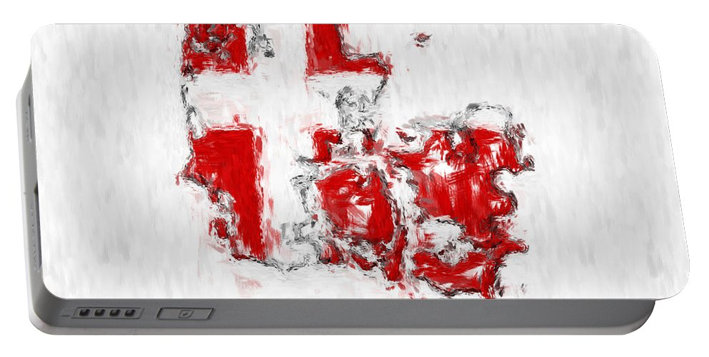 Denmark Portable Battery Charger featuring the photograph Denmark Painted Flag Map by Antony McAulay