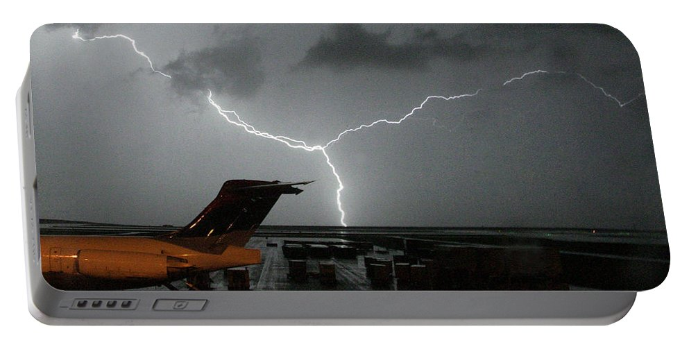 Lightning Portable Battery Charger featuring the photograph Denver Airport by J L Woody Wooden