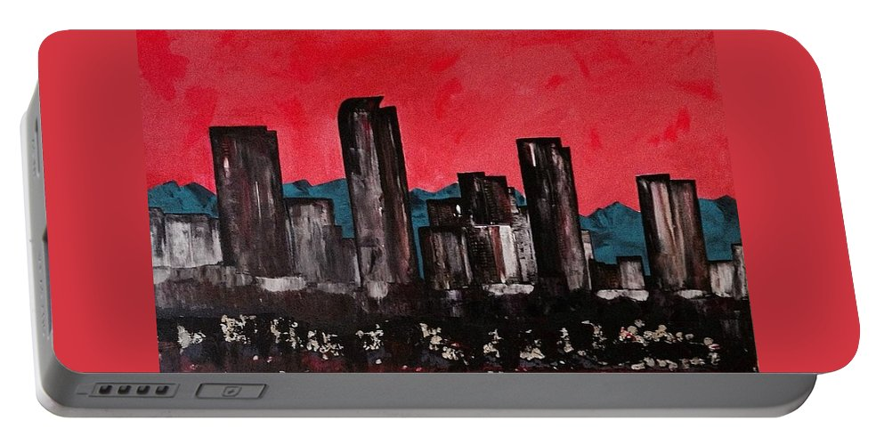 Painting Portable Battery Charger featuring the painting Denver Impression by Sarah Jane Thompson