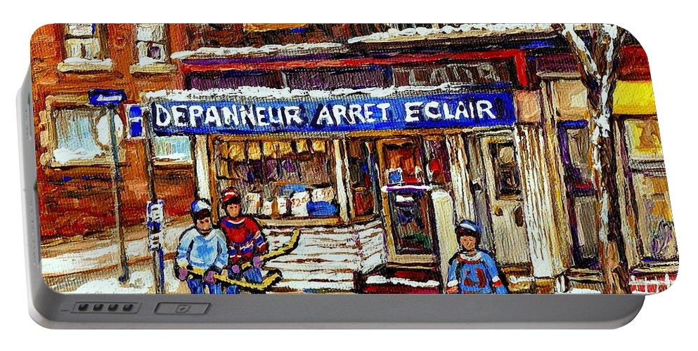 Depanneur Arret Eclair Portable Battery Charger featuring the painting Depanneur Arret Eclair Verdun Rue Wellington Montreal Paintings Original Hockey Art Sale Commissions by Carole Spandau