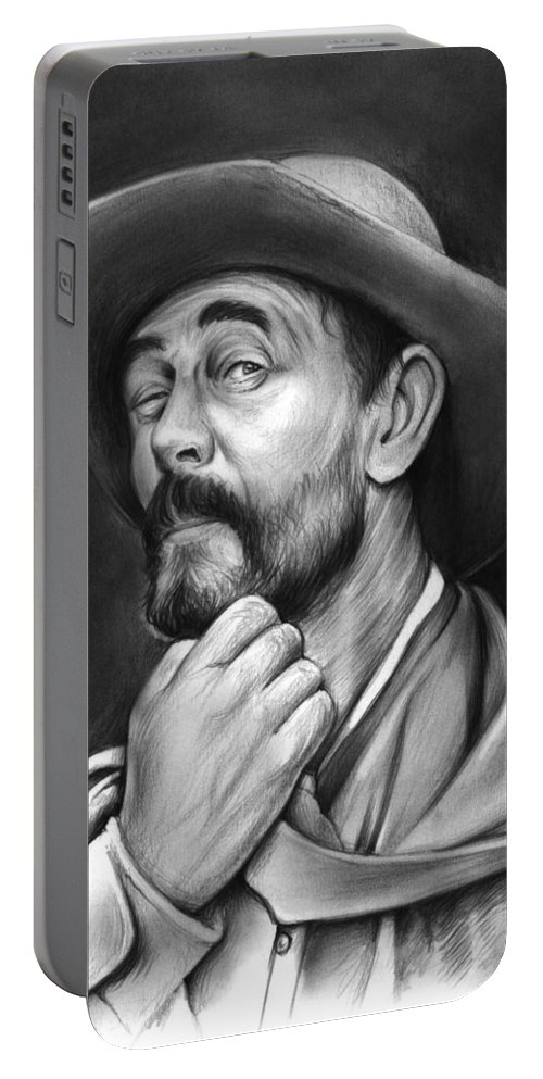 Gunsmoke Portable Battery Charger featuring the drawing Deputy Festus Haggen by Greg Joens