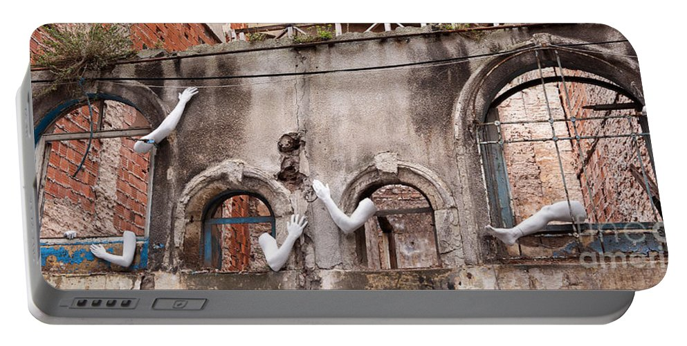 Turkish Portable Battery Charger featuring the photograph Derelict Wall Of Lost Limbs 02 by Rick Piper Photography