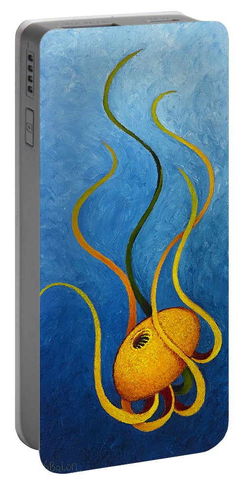 Contemporary Portable Battery Charger featuring the painting Descent by KarenElizabeth Balon