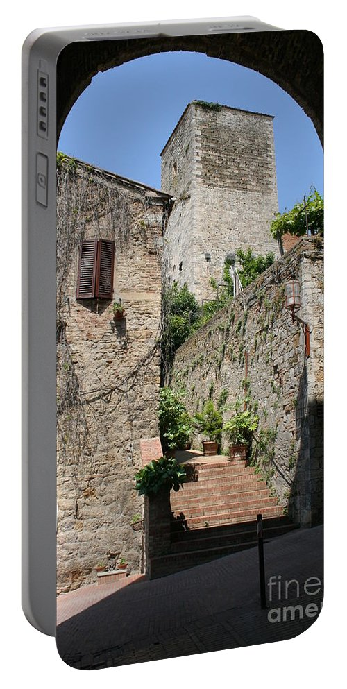 Way Portable Battery Charger featuring the photograph Desert Alley In San Gimignano by Christiane Schulze Art And Photography