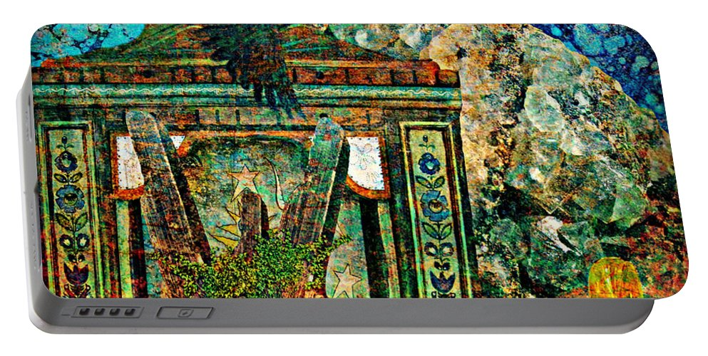Surreal Portable Battery Charger featuring the painting Desert Blue by Ally White