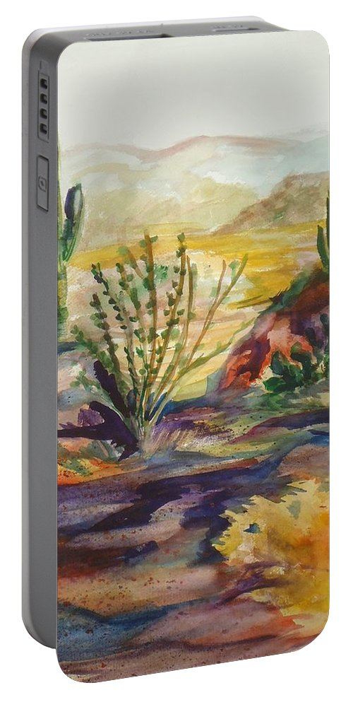 Desert Portable Battery Charger featuring the painting Desert Color by Charme Curtin