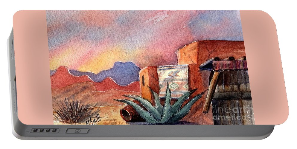 Southwest Painting Portable Battery Charger featuring the painting Desert Doorway by Marilyn Smith