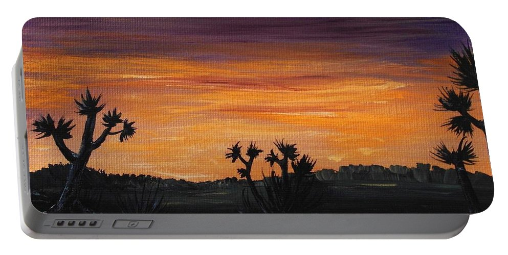 Calm Portable Battery Charger featuring the painting Desert Night by Anastasiya Malakhova