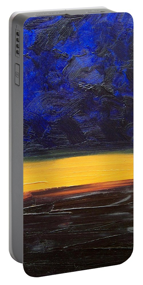 Landscape Portable Battery Charger featuring the painting Desert Plains by Sergey Bezhinets