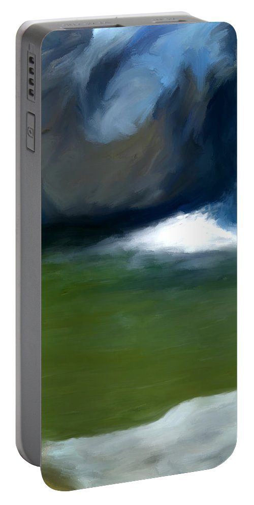 Pool Portable Battery Charger featuring the painting Desert Pool by Snake Jagger