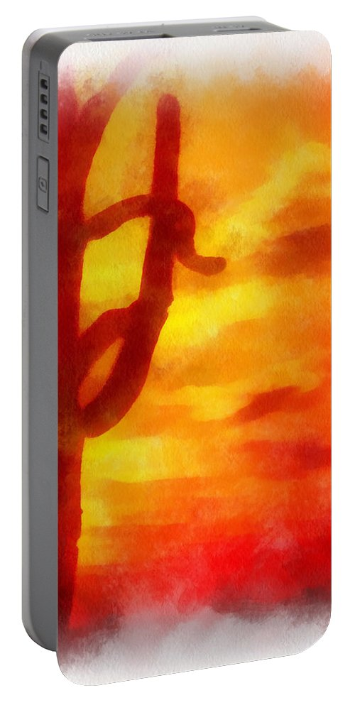Cactus Portable Battery Charger featuring the photograph Desert Sunset Photo Art 01 by Thomas Woolworth