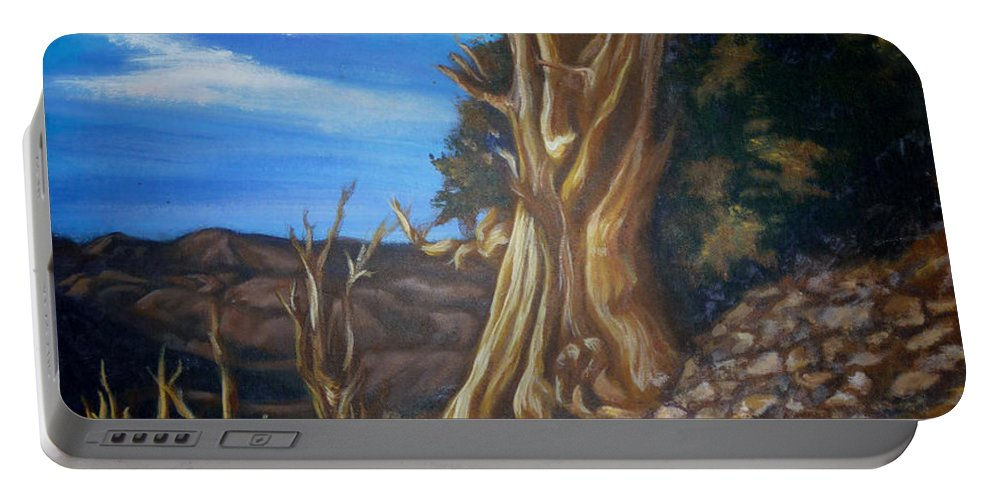 Desert Portable Battery Charger featuring the painting Desert Tree by Bryan Bustard