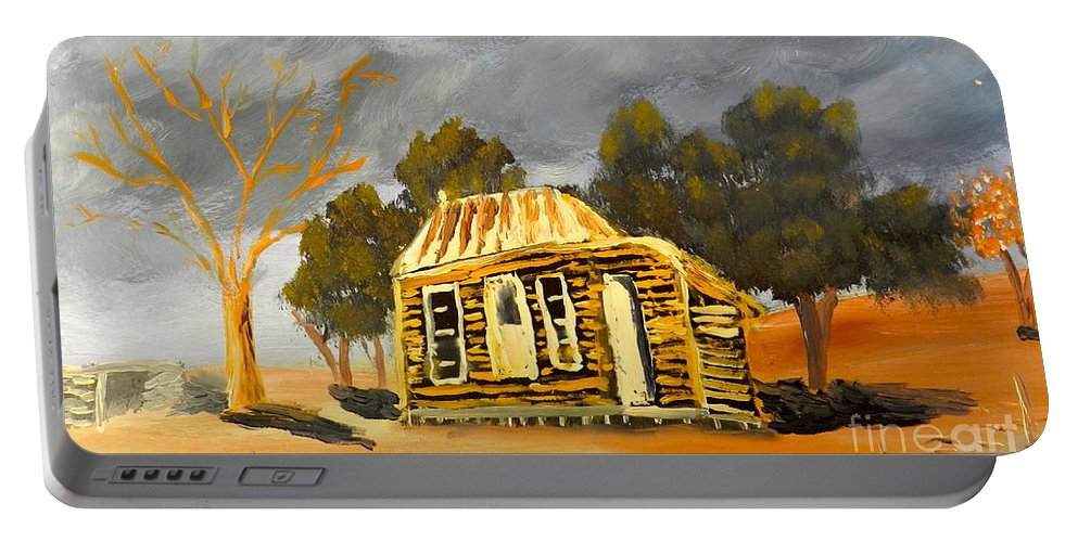 Impressionism Portable Battery Charger featuring the painting Deserted Castlemain Farmhouse by Pamela Meredith