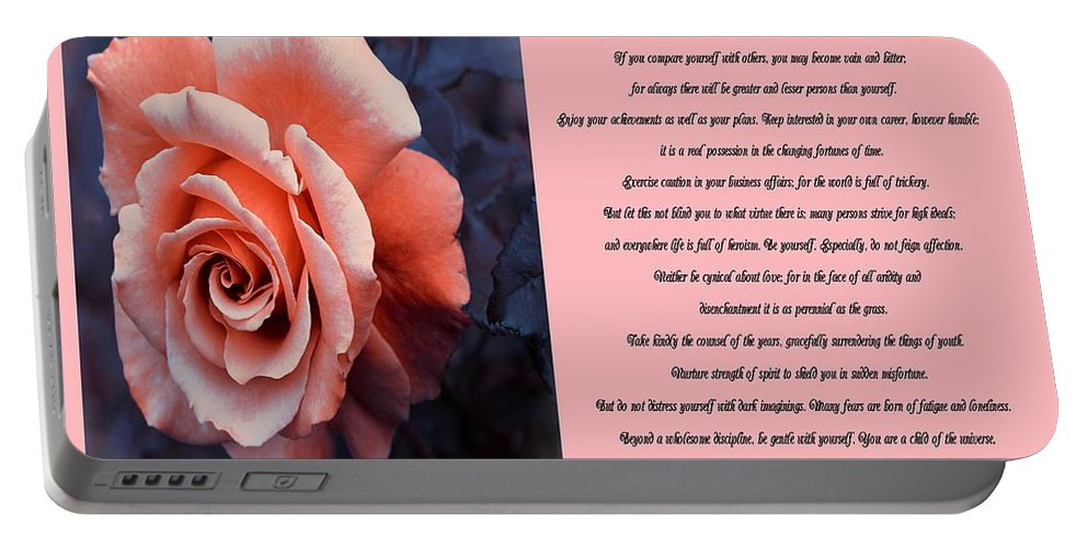 Desiderata Coral Rose Sidebyside Portable Battery Charger featuring the photograph Desiderata Coral Rose Sidebyside by Barbara Griffin