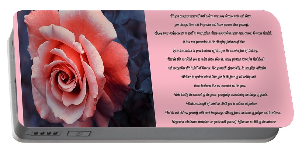 Desiderata Orange Rose Sidebyside Portable Battery Charger featuring the photograph Desiderata Orange Rose Sidebyside by Barbara Griffin