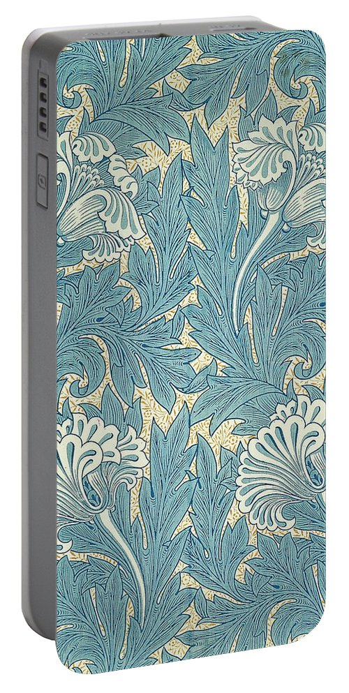 William Portable Battery Charger featuring the digital art Design In Turquoise by William Morris