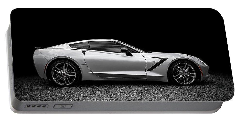 Corvette Portable Battery Charger featuring the digital art 2014 Corvette Stingray by Douglas Pittman