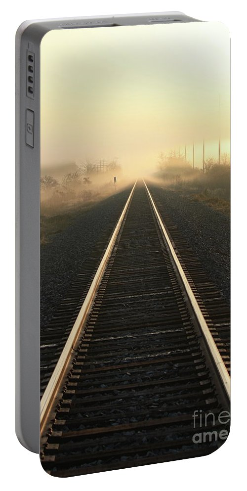 Railroad Portable Battery Charger featuring the photograph Destination Unknown by Brook Steed