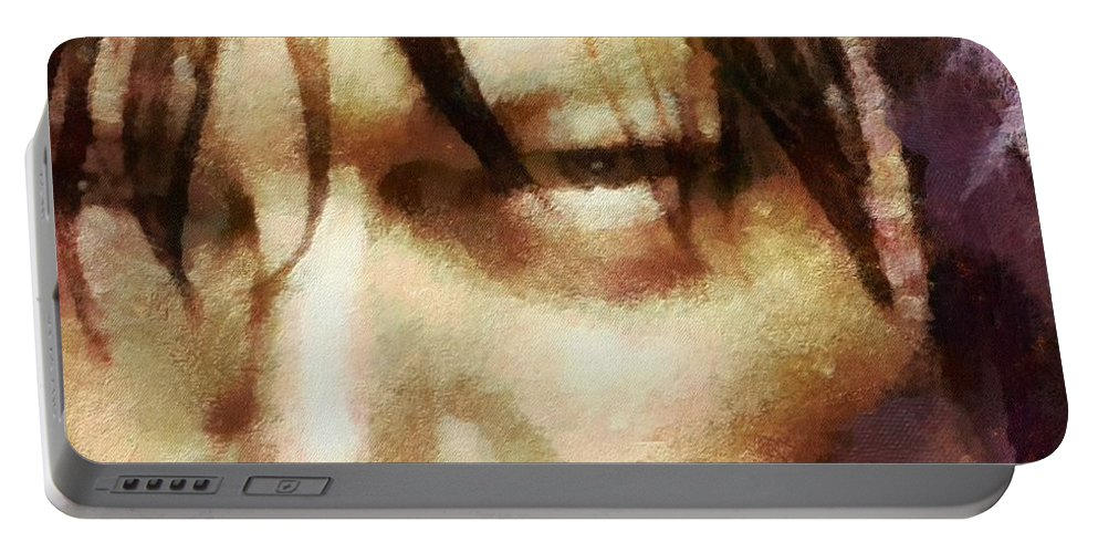 Daryl Dixon Portable Battery Charger featuring the painting Detail Of Daryl Dixon by Janice MacLellan