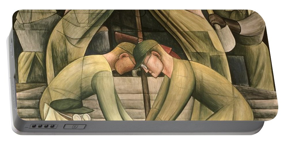 Ford Portable Battery Charger featuring the painting Detroit Industry South Wall by Diego Rivera