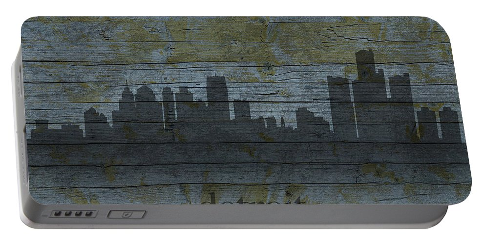 Detroit Portable Battery Charger featuring the mixed media Detroit Michigan City Skyline Silhouette Distressed On Worn Peeling Wood by Design Turnpike