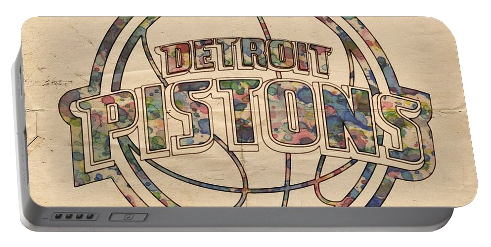 Detroit Pistons Portable Battery Charger featuring the painting Detroit Pistons Poster Art by Florian Rodarte