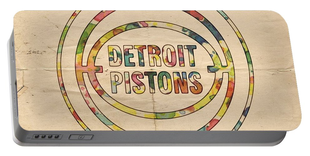 Detroit Pistons Portable Battery Charger featuring the painting Detroit Pistons Vintage Logo by Florian Rodarte