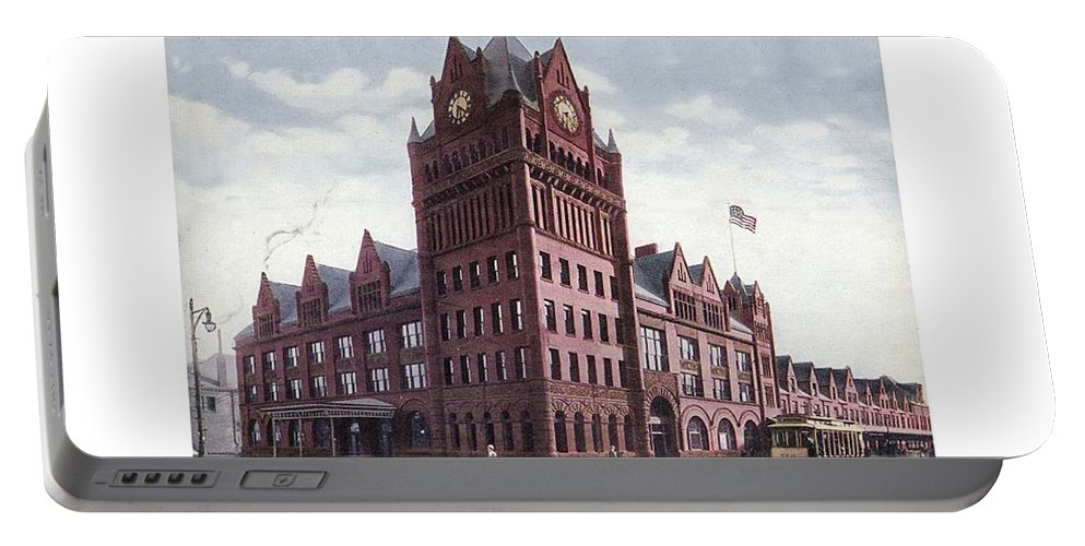 Detroit Portable Battery Charger featuring the digital art Detroit - Union Depot - Fort Street - 1907 by John Madison