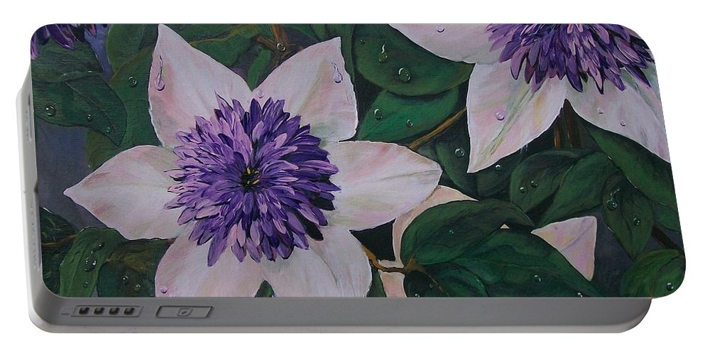 Clematis Portable Battery Charger featuring the painting Clematis After The Rain by Sharon Duguay