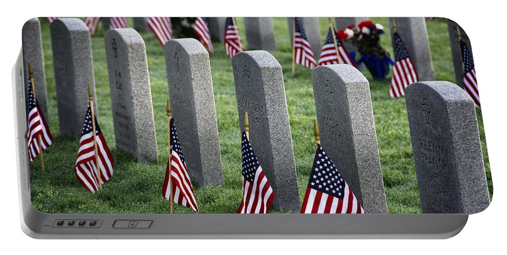 Joan Carroll Portable Battery Charger featuring the photograph Dfw National Cemetery by Joan Carroll