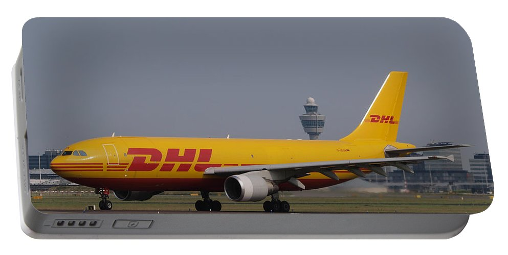 D-aean Airbus A300b4-622rf Dhl Air Taxiing 13july2013 -001air Portable Battery Charger featuring the photograph Dhl Airbus A300 by Paul Fearn