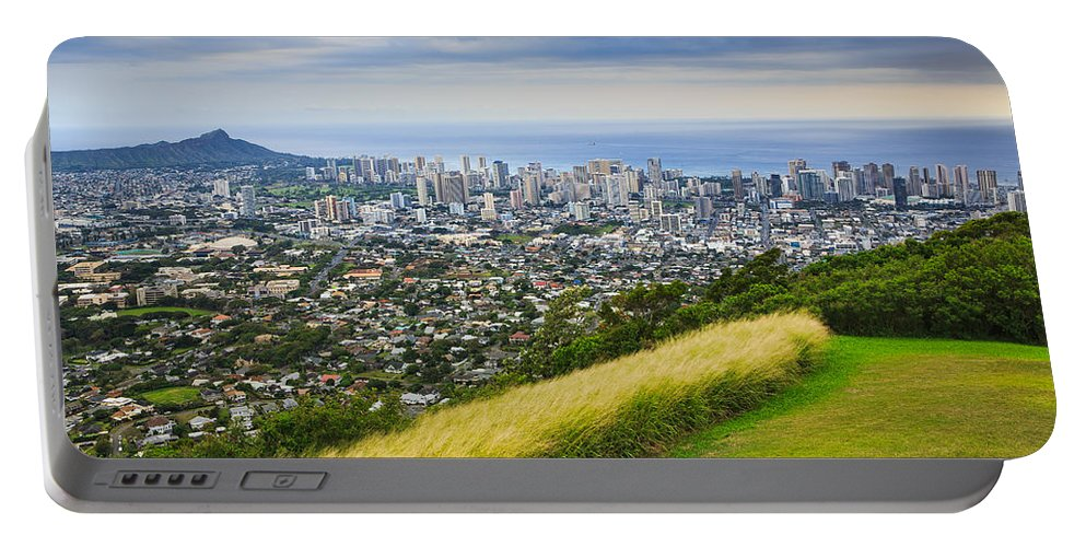 View Portable Battery Charger featuring the photograph Diamond Head And The City Of Honolulu by Ami Parikh