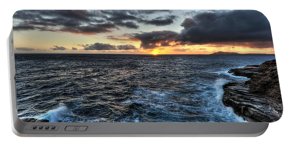 Diamond Head Sunset Portable Battery Charger featuring the photograph Diamond Head Sunset by Richard Cheski