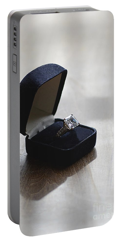Ring Portable Battery Charger featuring the photograph Diamond Ring On A Black Box by Jill Battaglia