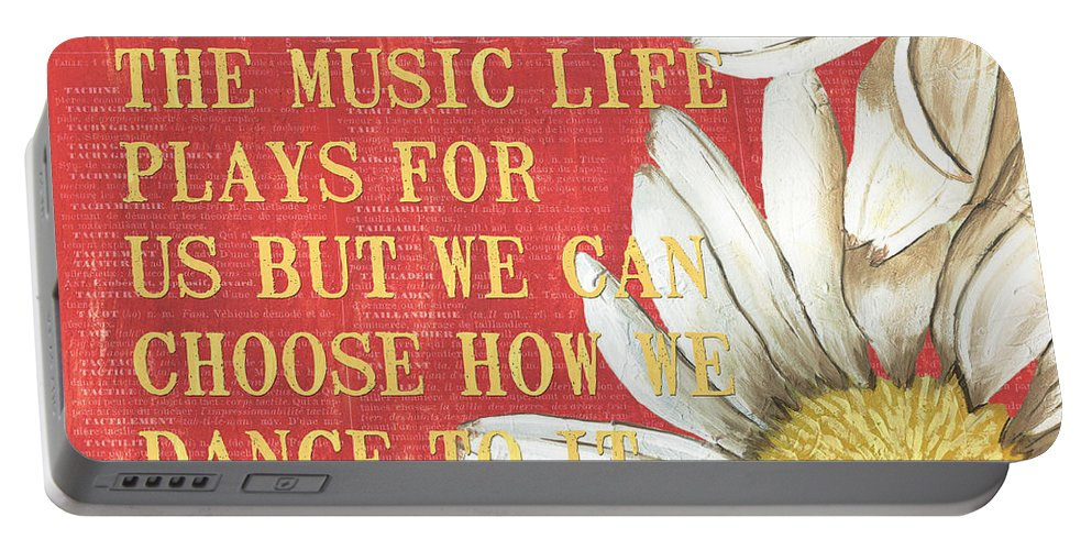 Flower Portable Battery Charger featuring the painting Dictionary Floral 1 by Debbie DeWitt