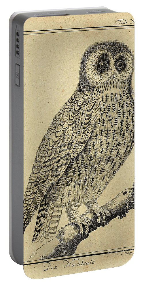Die Portable Battery Charger featuring the drawing Die Nacht Eule by Philip Ralley