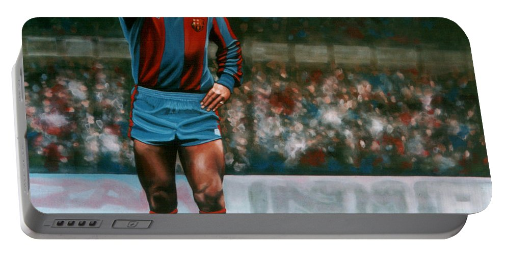 Diego Maradona Portable Battery Charger featuring the painting Diego Maradona by Paul Meijering