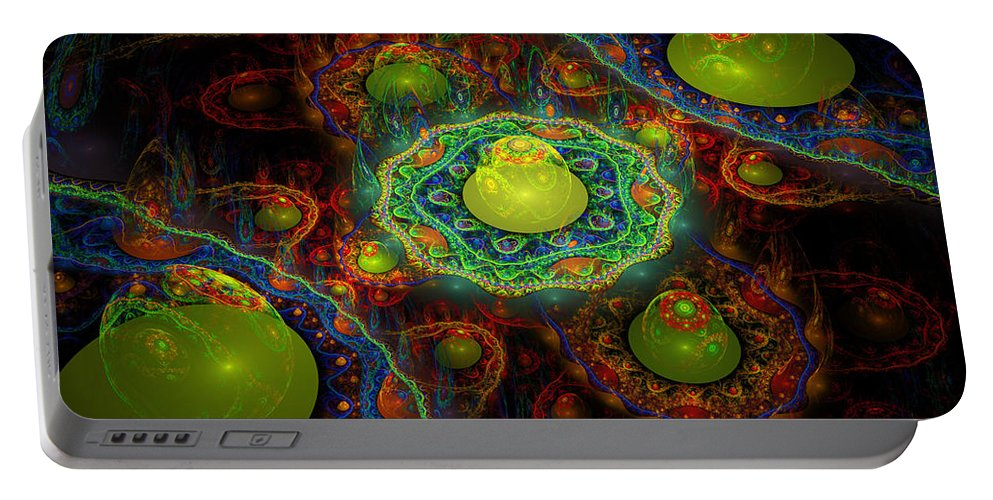 Abstract Digital Art Portable Battery Charger featuring the photograph Digital Abstract Fractal Flame Art by Keith Webber Jr
