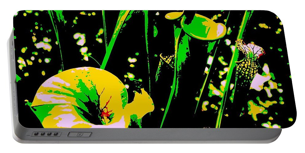 Digital Portable Battery Charger featuring the photograph Digital Green Yellow Abstract by Eric Schiabor