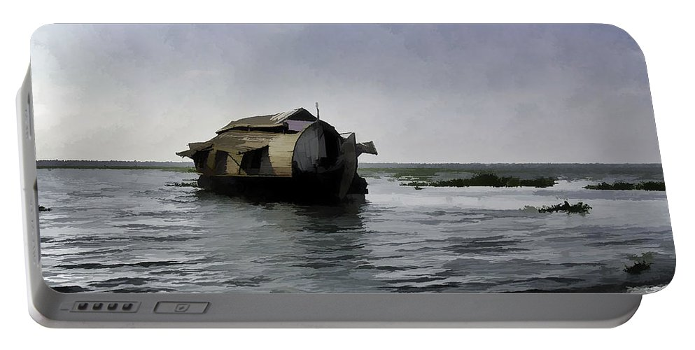 Backwater Portable Battery Charger featuring the digital art Digital Oil Painting - A Houseboat Moving Placidly Through A Coastal Lagoon by Ashish Agarwal