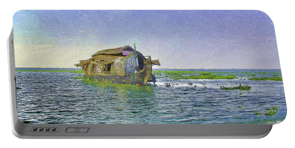 Backwater Portable Battery Charger featuring the digital art Digital Oil Painting - A Houseboat Moving Placidly Through A Coastal Lagoon In Alleppey by Ashish Agarwal