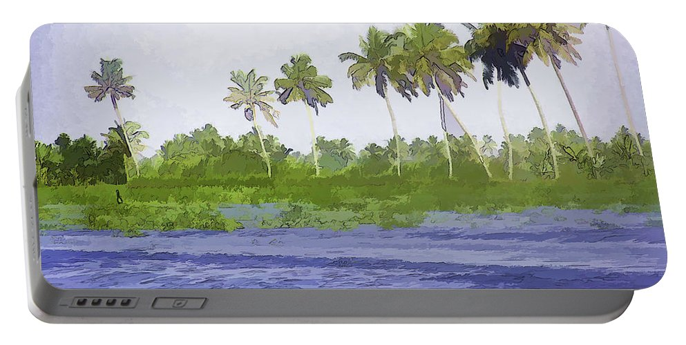 Alleppey Portable Battery Charger featuring the digital art Digital Oil Painting - Water Rippling In The Coastal Lagoon by Ashish Agarwal