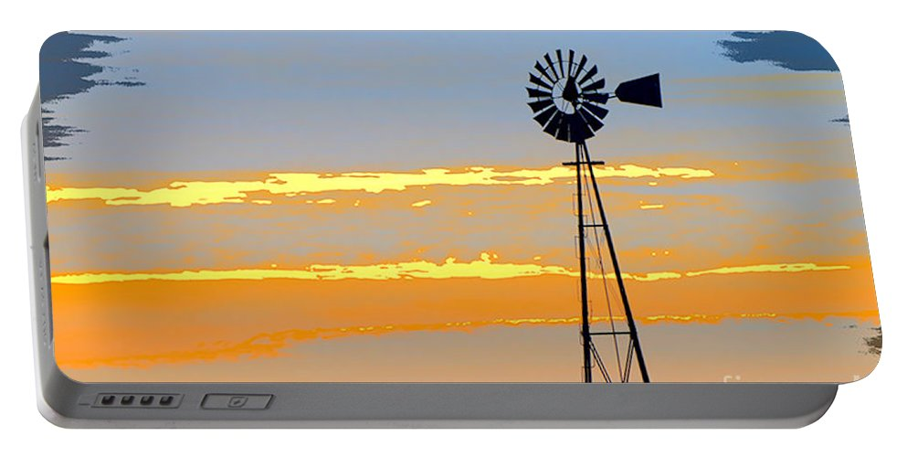 Windmill Portable Battery Charger featuring the photograph Digital Windmill-horizontal by Gary Richards