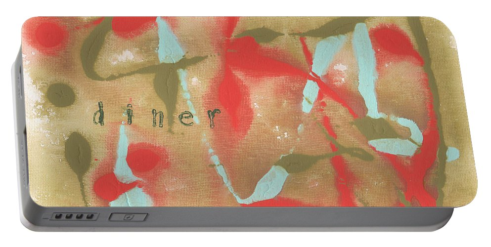 Olive Portable Battery Charger featuring the painting Diner by Paulette B Wright