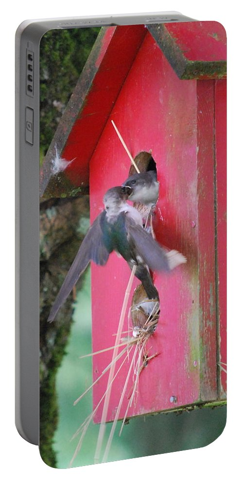 Bird Portable Battery Charger featuring the photograph Dinner Time by Kathy Sampson
